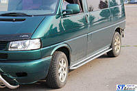 Боковые площадки Premium (2 шт, нерж)  Volkswagen  Transporter T4 1998+  (коротка база) 42 диаметр