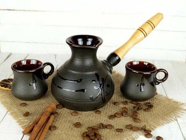 Турка Иероглиф керамическая с деревянной ручкой в наборе с чашками 350 мл + рассекатель