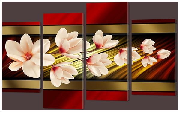 Модульна картина Червоне, золоте і квіти