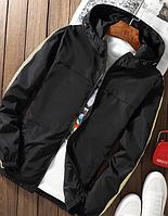 Мужская куртка ветровка с молочными полосами черная