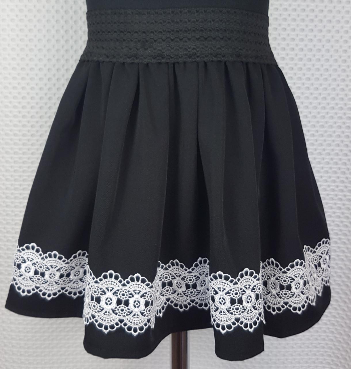 Детская школьная юбка  р.116-134 черный + белое кружево вставка