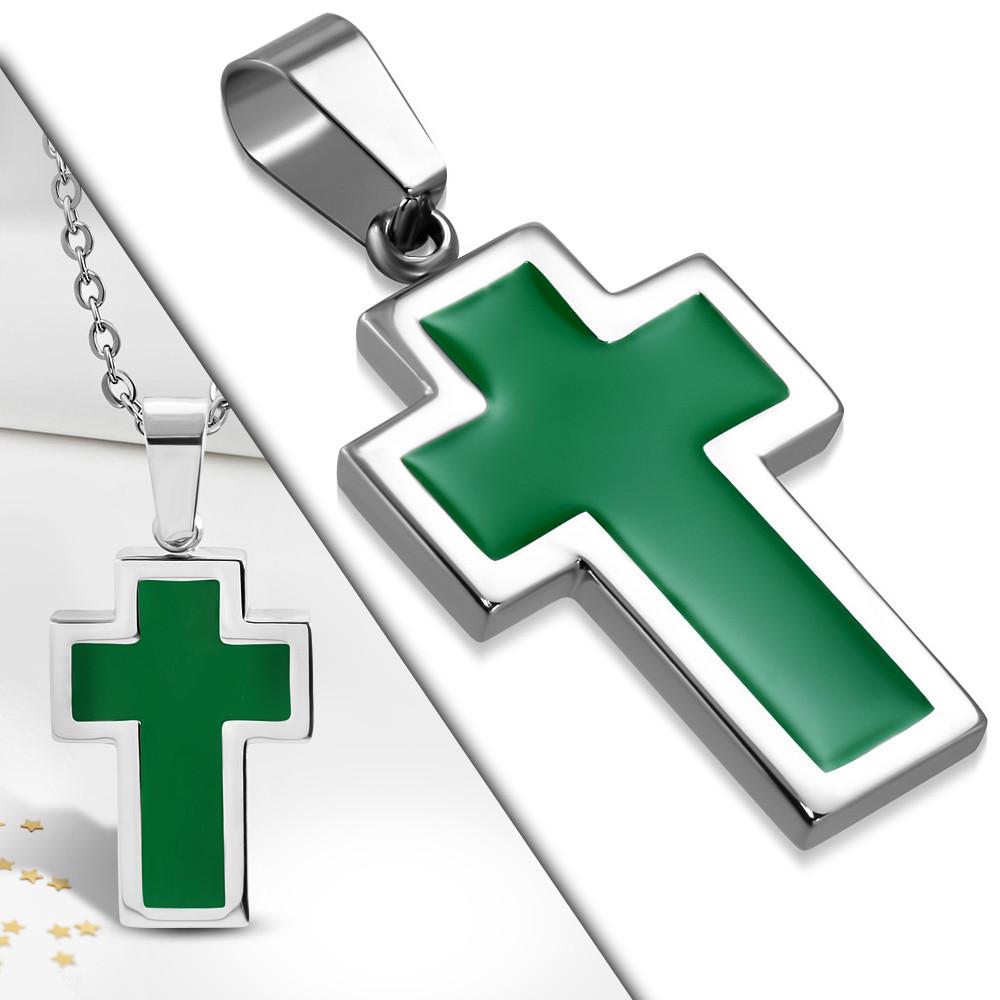 Кулон зеленый крест 316 Steel