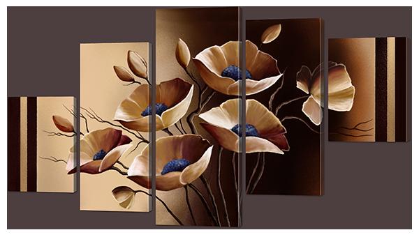 """Модульная картина """"Маки в шоколадных тонах"""""""