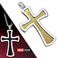 Кулон черно-золотой двухцветный крестик 316 Steel, фото 1