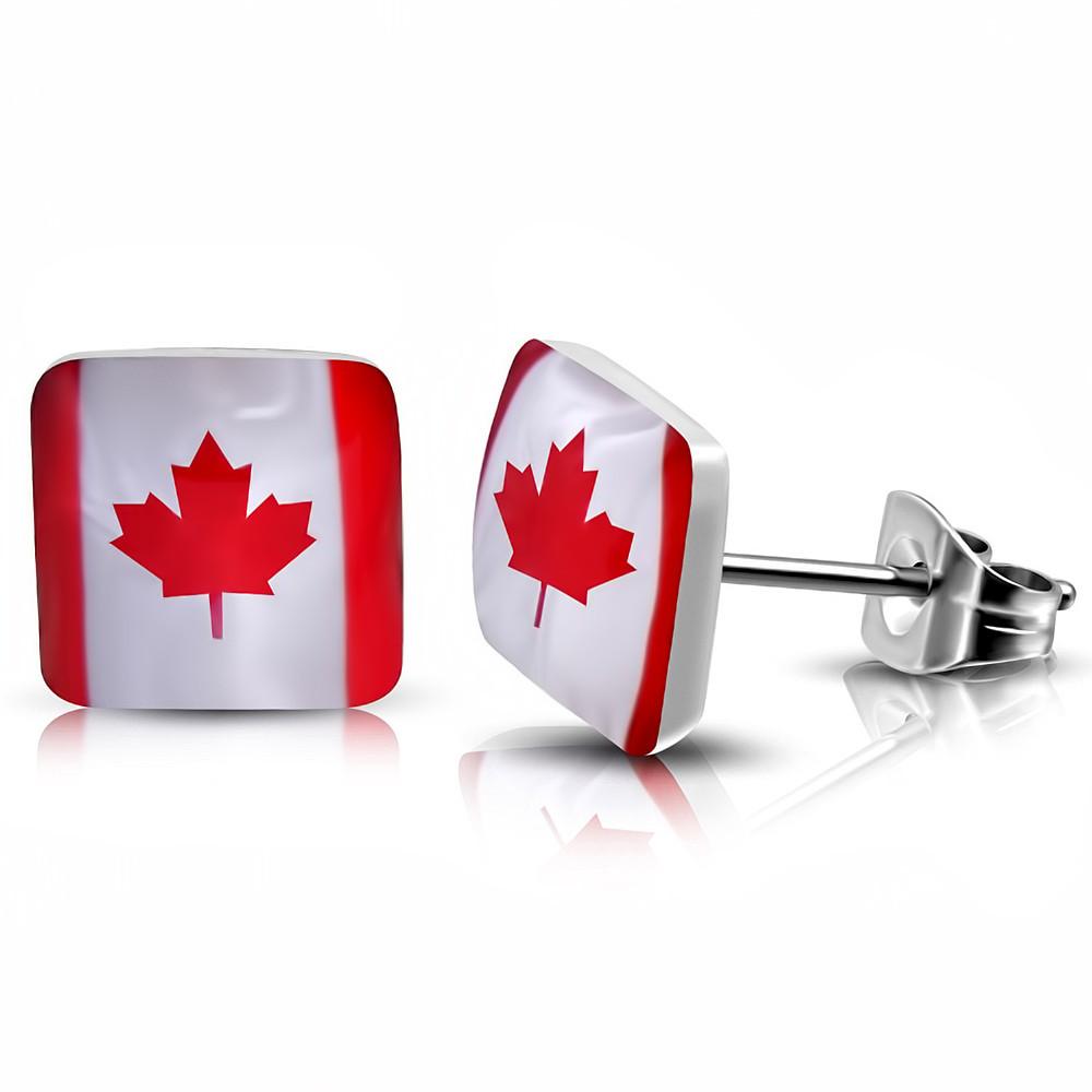 Сережки гвоздики прапор канади 316 Steel
