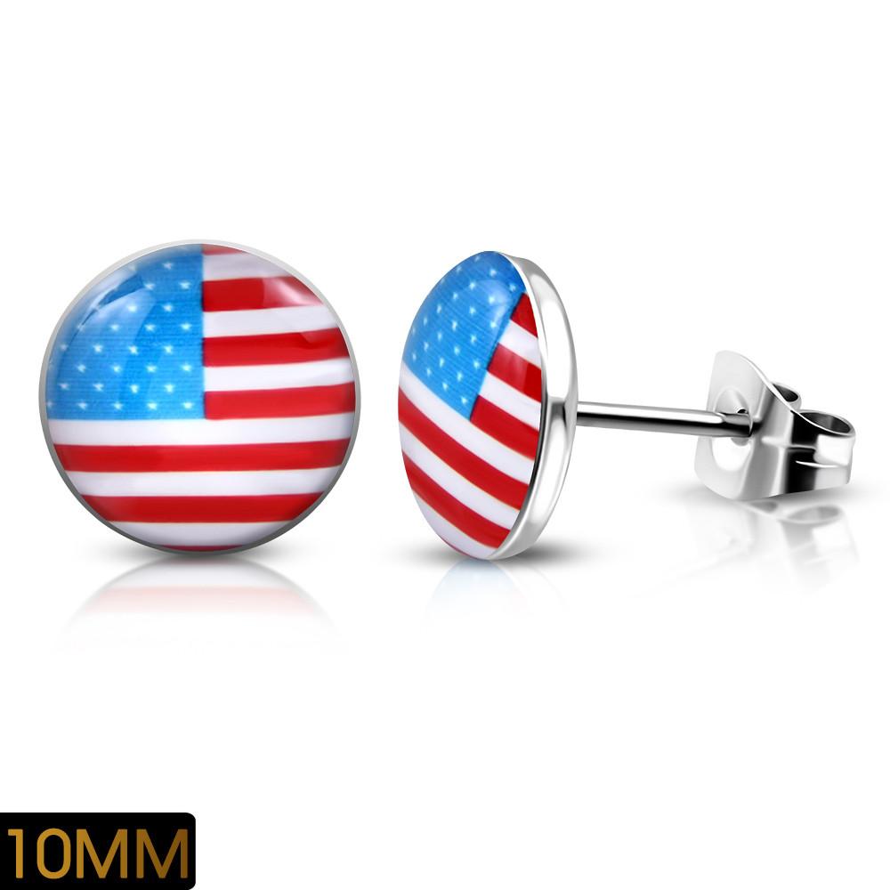 Сережки гвоздики прапор США 316 Steel