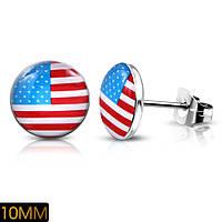 Серьги гвоздики флаг США 316 Steel
