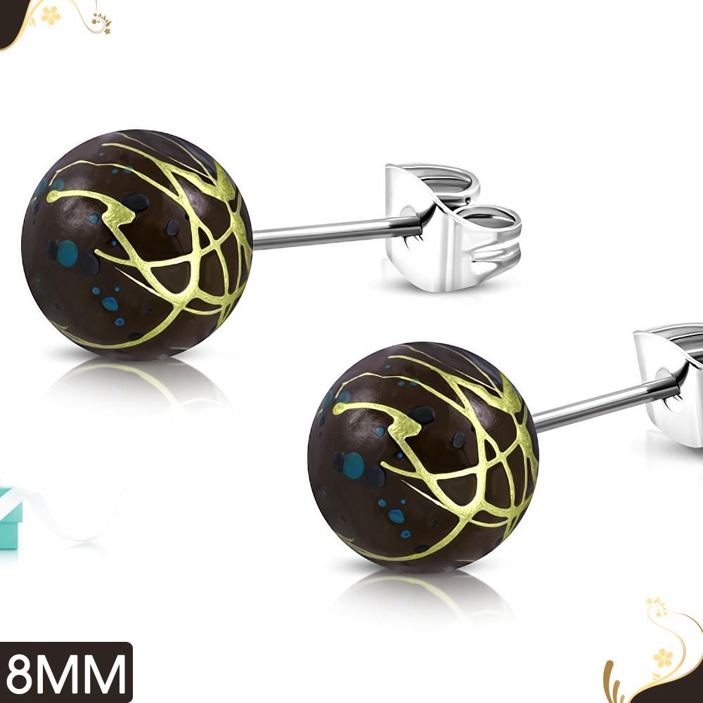 Серьги гвоздики круглые акриловые 316 Steel TTE015