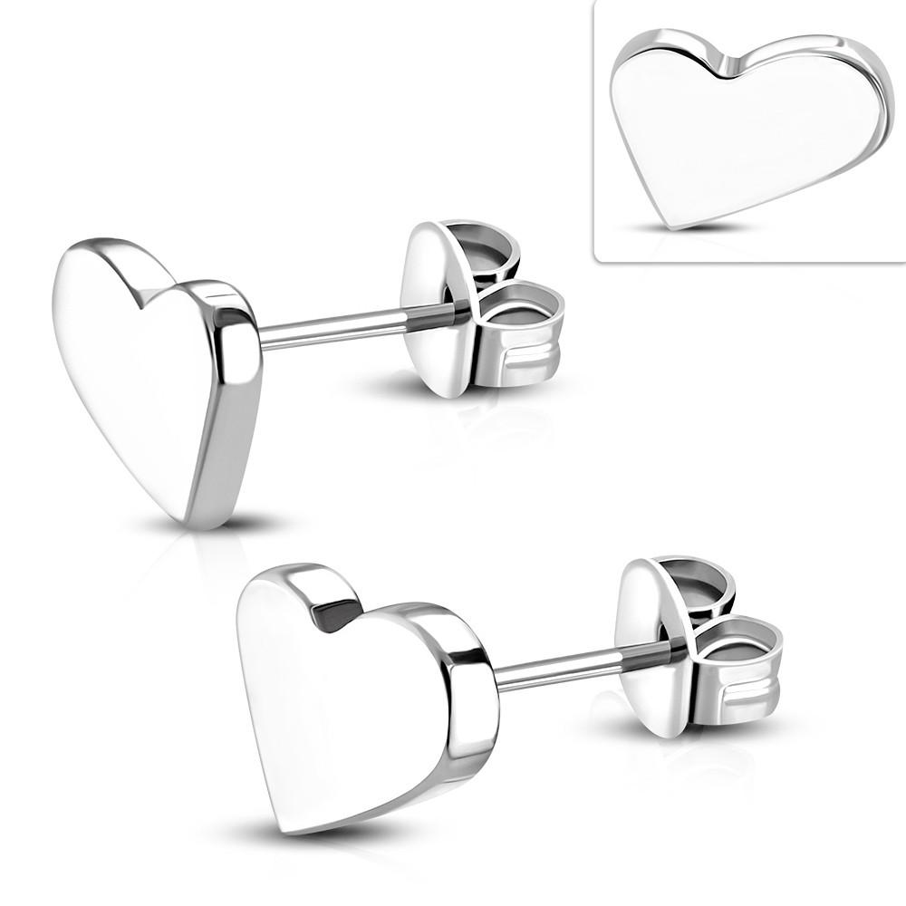 Серьги гвоздики сердечки 316 Steel ♥