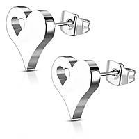 Серьги гвоздики сердечки 316 Steel ZEM415