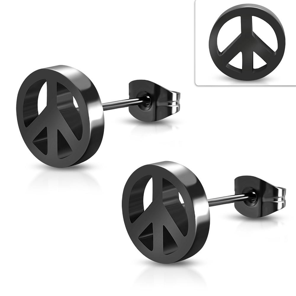Серьги гвоздики черный пацифик 316 Steel