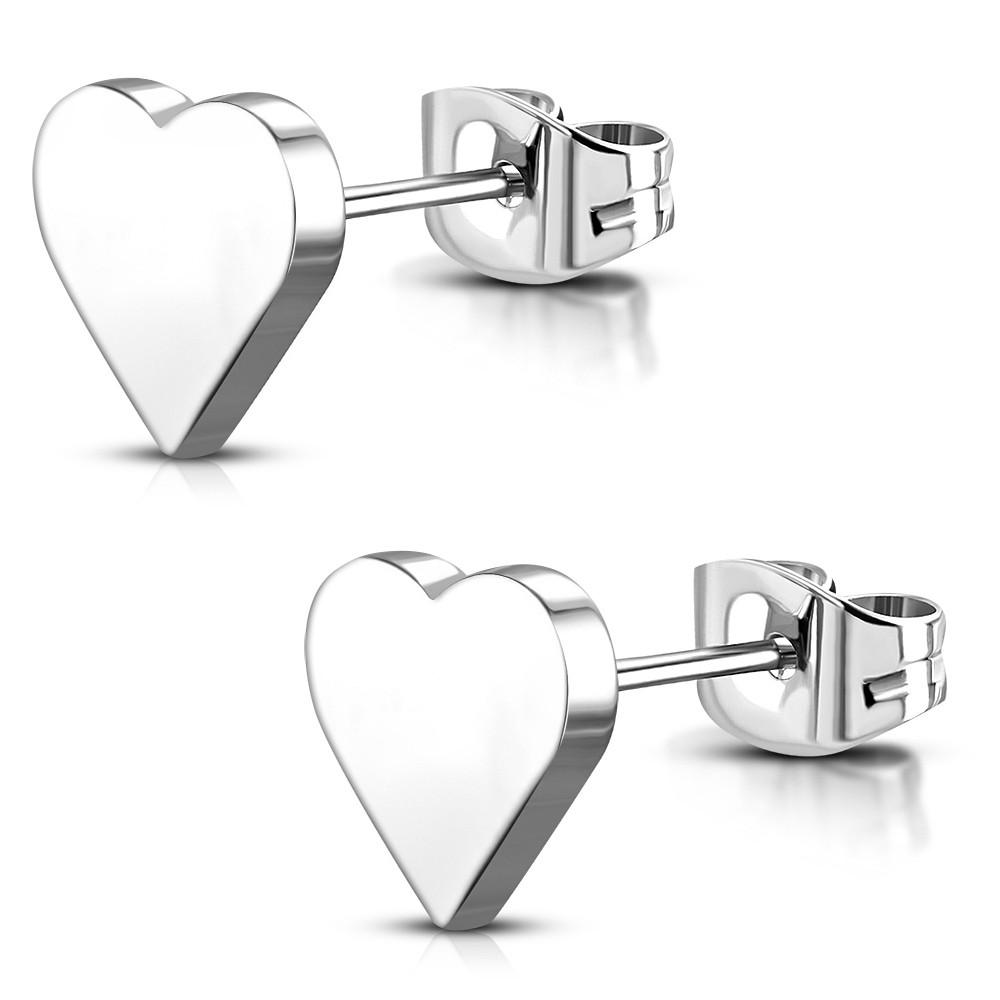 Сережки гвоздики сердечка 316 Steel JES702