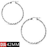 Серьги кольца серебристые 316 Steel GEO636