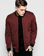 Мужская кофта бомбер с карманом бордового цвета на флисе