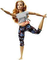 Кукла Барби йога серия Двигайся как я Пышная Barbie Made to Move Strawberry Blonde Peach Gray Top Curvy FTG84