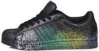 Мужские кроссовки Adidas Superstar Pride Black (в стиле Адидас Суперстар) черные