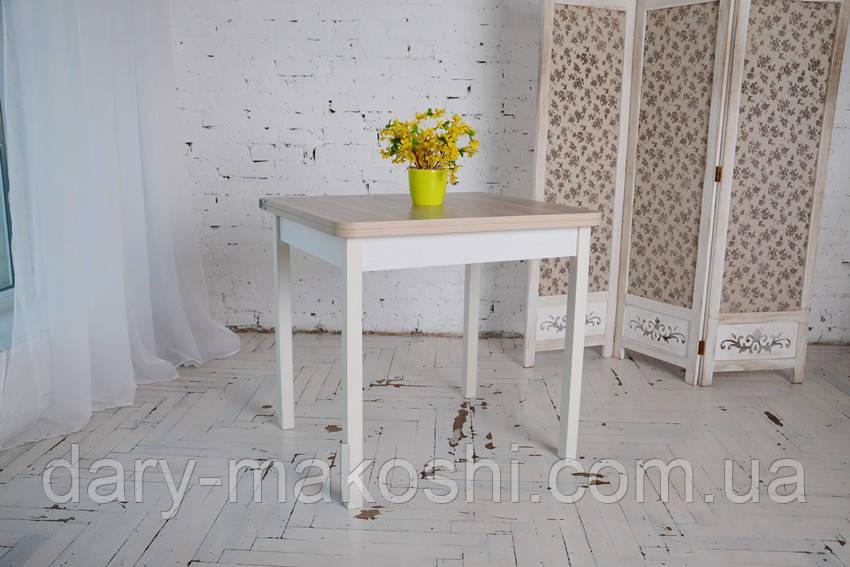 Стол обеденый раскладной Гранди 70 см х 80 см (140х80) с деревянными ножками прямыми