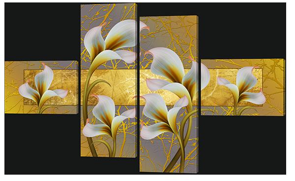 Модульная картина Калы на фоне золотого орнамента