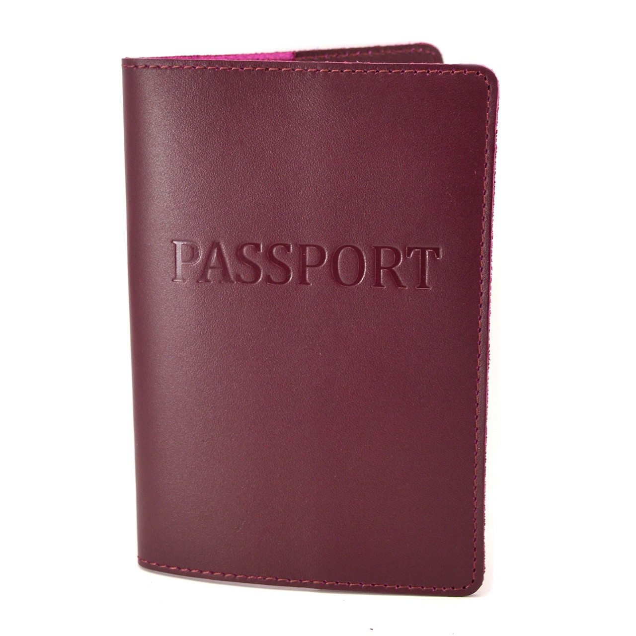 Обложка на паспорт кожаная ST-06 (бордовая)