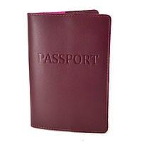 Обложка на паспорт кожаная ST-06 (бордовая), фото 1