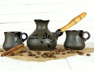 Турка Иероглиф керамическая с деревянной ручкой в наборе с чашками 200 мл
