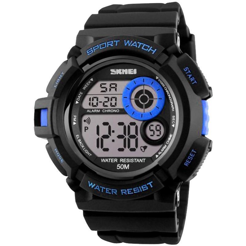 Часы Skmei Мод.1222 (подсветка: 7 цветов), черный-синий, в металлическом боксе