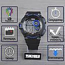 Часы Skmei Мод.1222 (подсветка: 7 цветов), черный-синий, в металлическом боксе, фото 2