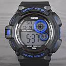 Часы Skmei Мод.1222 (подсветка: 7 цветов), черный-синий, в металлическом боксе, фото 3