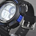 Часы Skmei Мод.1222 (подсветка: 7 цветов), черный-синий, в металлическом боксе, фото 4