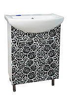 Тумба для ванной комнаты с рисунком Роза-трафарет-1 Т-1 под умывальник Либра 60 см