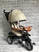 """Велосипед трехколесный """"TREIKE"""" ткань лен, поворотное сидение (бежевый), фото 1"""