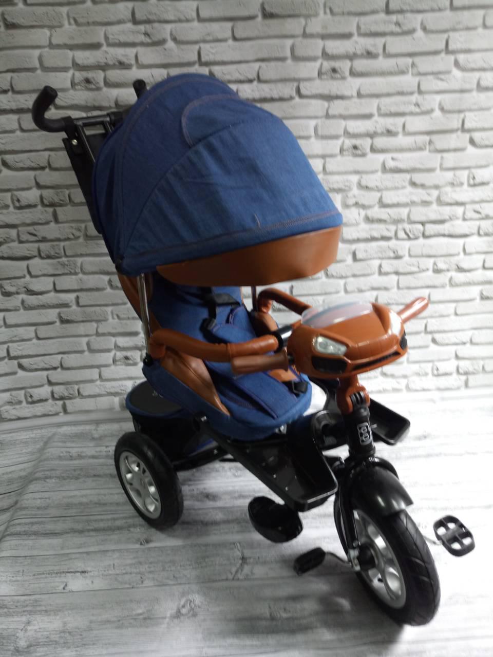 """Велосипед трехколесный """"TREIKE"""" ткань лен, поворотное сидение (джинс)"""