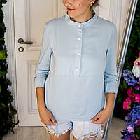 Летняя блузка для кормящих мам голубого цвета 42-48 р