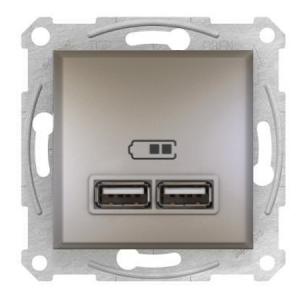 Розетка USB 2,1 A Asfora Бронза Schneider Electric, фото 2
