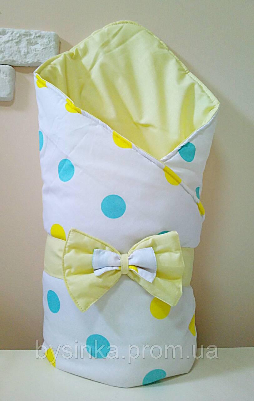 Конверт-одеяло на выписку с красивым бантом (демисезонный), 80х90 см