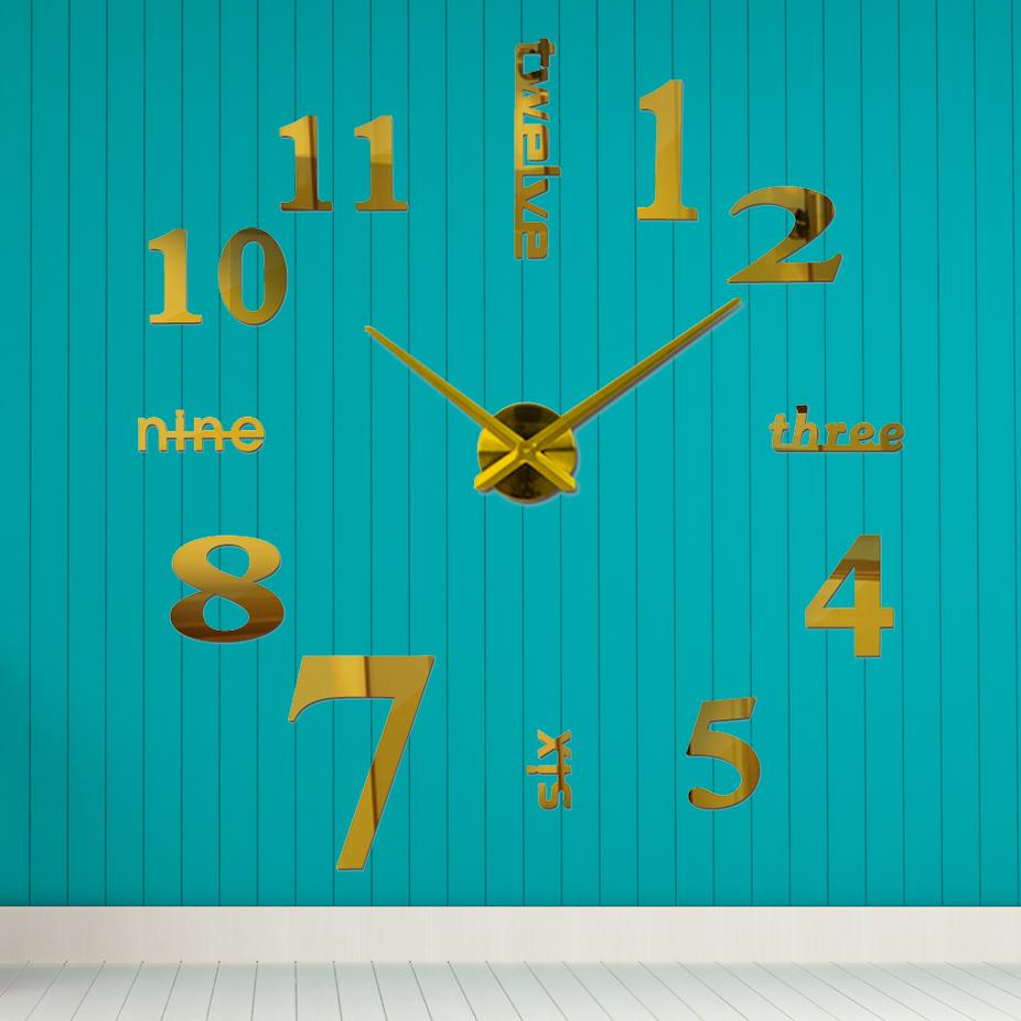 Дизайнерские настенные часы 3D, наклейки с Зеркальным эффектом, необычные настенные часы 3д Золотой