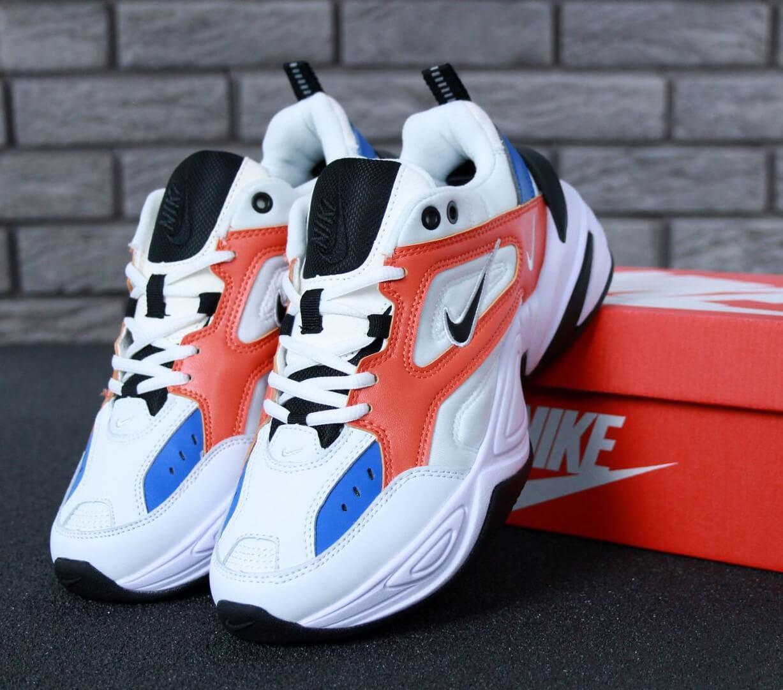 Кроссовки Nike M2K Tekno White Blue Red (Найк М2К Текно бело-сине-красные мужские и женские размеры 36-45)