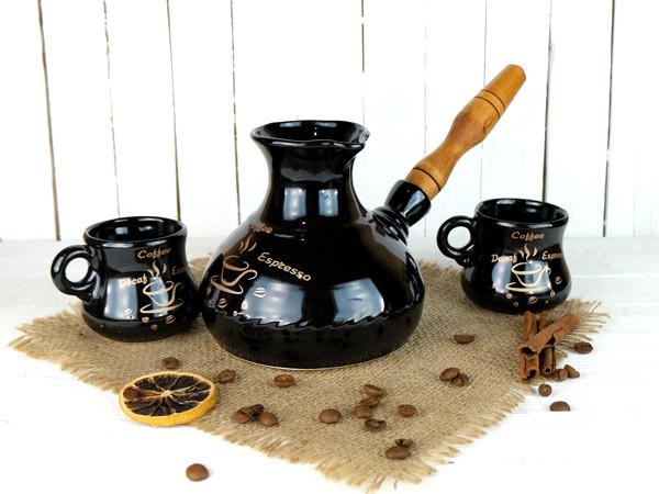 Турка Американо керамическая с деревянной ручкой и двумя чашками 500 мл