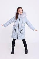 Голубая куртка для девочки на зиму   Детский пуховик на зиму