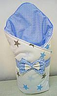 Конверт-одеяло на выписку новорожденного с красивым бантом (Зимний), 80х90 см