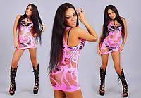 Мини платье - туника Greenice розовое, микрофибра, размеры 42 - 50. Оптом и в розницу
