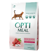 Optimeal Chicken 4кг + 12шт паучей - корм для кошек с курицей