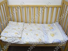 Детское постельное белье в кроватку, постельный комплект (мишка на месяце бежевый), фото 2