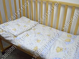 Детское постельное белье в кроватку, постельный комплект (мишка на месяце бежевый), фото 3