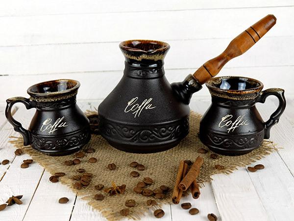 Турка Царская керамическая с деревянной ручкой и чашками 450 мл