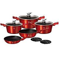 Набор посуды Berlinger Haus 10 предметов Metallic Line BURGUNDY Edition BH 1222N