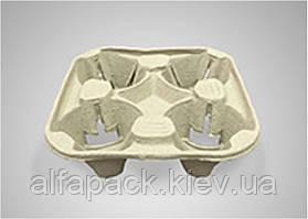 Картонный держатель для стаканов (4 секции), 110 шт., упаковка