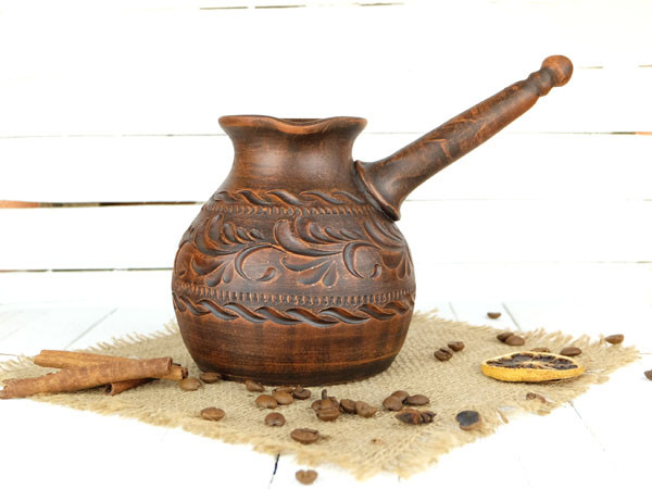 Турка гончарная из красной керамики 700 мл