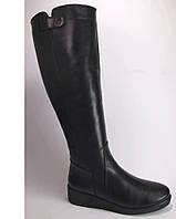 Женские кожаные зимние сапоги на маленькой танкетке, высокие зимние сапоги от производителя модель КА1006-02
