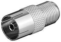 Перехідник антенний RF:F-Coaxial F/F Goobay 75 Ohm адаптер прямий 5 шт (75.01.1840)